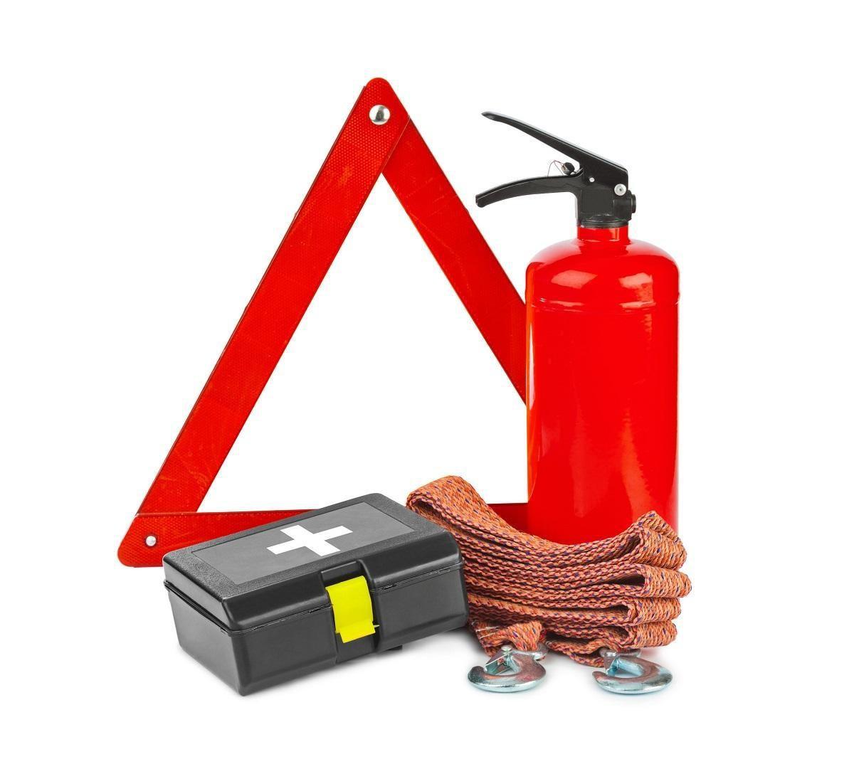 zestaw bezpieczeństwa kierowcy - gaśnica, apteczka i trójkąt ostrzegawczy